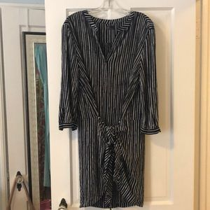 Striped navy and white dress, ties at hip
